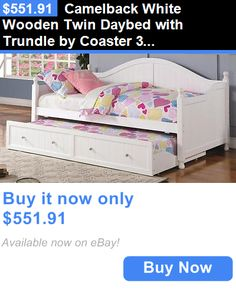 Kids Furniture: Camelback White Wooden Twin Daybed With Trundle By Coaster 300053 BUY IT NOW ONLY: $551.91