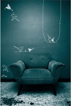 petrol-wandfarbe-moderner-sessel-und-kreative-wandgestaltung petrol-wall color-modern-chair-and-creative-wall design Deco Design, Wall Design, Living Colors, Shades Of Teal, Piece A Vivre, Blue Rooms, Creative Walls, Take A Seat, Interior Exterior