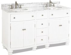 double vanity with White finish, simple beadboard doors, curved shape, preassembled top and bowl White Vanity, Diy Vanity, Cabinet Boxes, Granite Tops, Mdf Wood, Marble Top, Extra Storage, Cabinet Hardware, White Porcelain