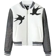 Swallow Applique Varsity Jacket (39 CAD) ❤ liked on Polyvore featuring outerwear, jackets, white, college jackets, white letterman jacket, letterman jackets, varsity style jacket and white jacket