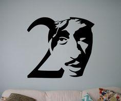 Tupac+Shakur+Wall+Vinyl+Decal+2Pac+Vinyl+Sticker+Home+Interior+Removable+Decor+4+#2Pac