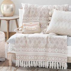 Jeté en coton beige motifs jacquard 160x210cm PHOENIX | Maisons du Monde