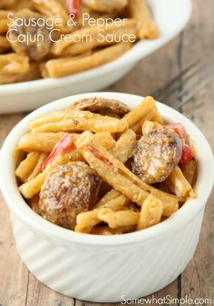 Sausage and Pepper Cajun Cream Sauce - Somewhat Simple
