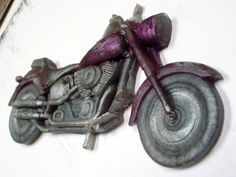 SOAP, For Him or Her, Let's Ride, Motorcycle in Deep Purple & Antique Silver, Scented in Black Raspberry Vanilla, Vegetable Based
