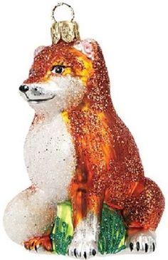 Fox Polish Glass Christmas Ornament Made in Poland Wildlife Decoration