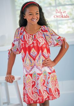 Only at CWDkids: Paisley Open Sleeve Dress