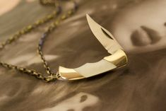 Miniature Pocket Knife Necklace White Mother of Pearl by ViceAndVirtueNYC