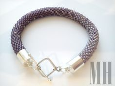 Bransoletka z koralików w kolorze lila   MH Biżuteria - cuda ręcznie wykonane