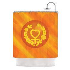 "NL Designs ""Venus"" Orange Yellow Shower Curtain"