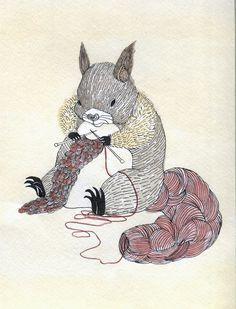 Las Teje y Maneje: Ardilla tejiendo. Esta fabulosa / knitting squirrel! By Davin Choi