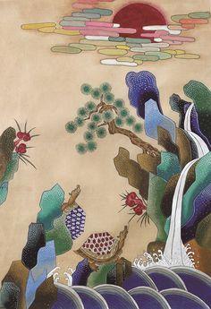 Korean Art, Asian Art, Korean Crafts, Kids Room Murals, Korean Painting, Nature Artists, Colorful Drawings, Chinoiserie, Art For Kids