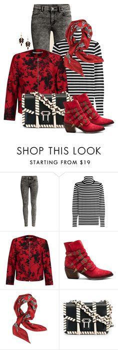 """Black & White Striped Top"" by franceseattle ❤ liked on Polyvore featuring H&M, Steffen Schraut, Diane Von Furstenberg, Free People, Valentino and Proenza Schouler"