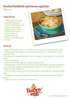 Why not cook up some smoked haddock and cheesy egg bake for tea tonight with our handy recipe card