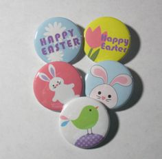 Pinback Button Set Set of 5 Easter Pins Easter by CreativeSanity, $5.00