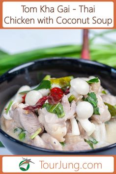 This Thai soup recipe is very famous for its sweet, spicy, hot, and sour taste. It is called Tom Kha. It has lemongrass and coconut milk as key ingredients. If you've never tried this then you're missing out! Try it tonight! Chicken Coconut Soup, Coconut Soup Recipes, Spicy Chicken Recipes, Thai Chicken, Curry Recipes, Asian Recipes, Tom Kha Gai Recipe, Easy Delicious Recipes, Easy Recipes