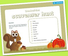 Pumpkins, squirrels, and turkeys, oh my! Take a timeout for some family fun and go on a Thanksgiving-themed scavenger hunt.