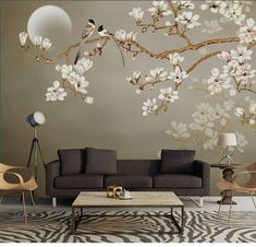 One Large Branch Tree White Flowers Wallpaper Wall Mural, Magnolia Floral Wallpaper, Flowers and Birds Oriental Wall Murals Wallpaper Wall, Flower Wallpaper, Cleaning Walls, Flower Wall Stickers, Wall Murals, Room Decor, Living Room, Interior Design, White Flowers