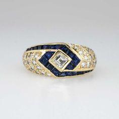 Beautiful 1980's Asscher Diamond & Calibre Cut Blue Sapphire Ring 18k | Antique & Estate Jewelry | SOLD: 10/30/14 Jewelry Finds