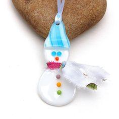 Fused Glass Snowman Ornament  Suncatcher by buffaloartglass, $14.00