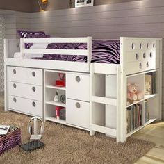 Bedtime and playtime are one and the same with this kids modular loft bed. The twin-size bed, made of sturdy pine wood, is lofted to create a special storage area underneath. Accented with circular cu