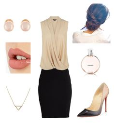 """""""A day at the office"""" by astorms on Polyvore featuring VILA, Christian Louboutin, Banana Republic, Kenneth Jay Lane, Chanel and Charlotte Tilbury"""