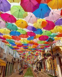 Umbrella street ~ Agueda, Aveiro, Portugal Photo: Beautiful (Via Umbrella Street, Umbrella Art, Portugal The Man, Portugal Travel, Portugal Trip, Colorful Umbrellas, San Juan Puerto Rico, Foto Pose, Travel Images