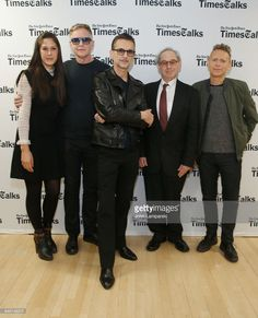 Michelle Grey of Times Talks, Andy Fletcher, Dave Gahan, moderator Jon Percles and Martin Gore of Depeche Mode attend 'TimesTalks Presents Depeche Mode' at Jack H. Skirball Center for the Performing Arts on March 8, 2017 in New York City.