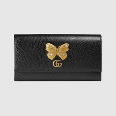 GUCCI Leather continental wallet with butterfly - black leather. #gucci #