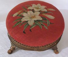 Antique  Footstool Needlepoint Lily Floral Hand Carved Hoof Feet Hooves 1800's Victorian Furniture. $99.00, via Etsy.