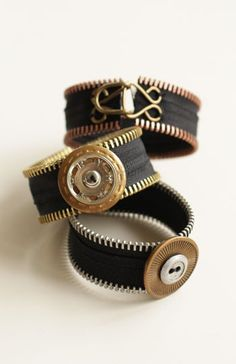 $9.99  ..  A chic mix of brass, copper and aluminum teeth accessories.  Versatile bracelets, a stunning statement necklace, earrings and a paisley shaped pin. Bracelets feature favorite notions – extra large snaps and hook & eye closures.