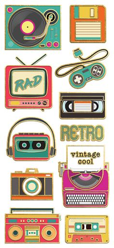 Paper House Productions StickyPix Retro Electronics Faux Enamel Stickers with Foil Accents - Pegatinas wallpaper Tumblr Stickers, Cool Stickers, Laptop Stickers, Retro Outfits, Retro Vintage, Aesthetic Stickers, Retro Aesthetic, Ink Pads, T Rex