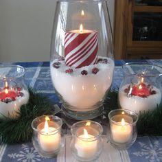 Candle centerpiece   ...using fake snow