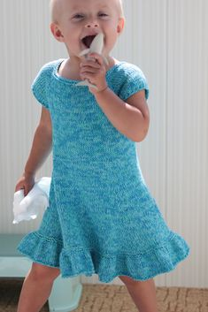 Ravelry: Lavender Dress pattern by Adeline Too Girls Knitted Dress, Knit Dress, Lavender Dresses, Girls Dresses, Summer Dresses, Knitting For Kids, Baby Sweaters, Summer Girls, Simple Dresses