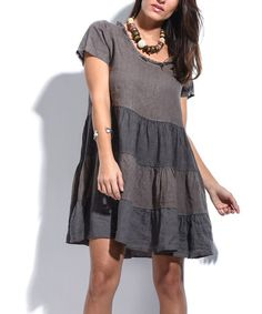 Another great find on #zulily! Brown Stripe Fringe-Neck Linen Shift Dress #zulilyfinds