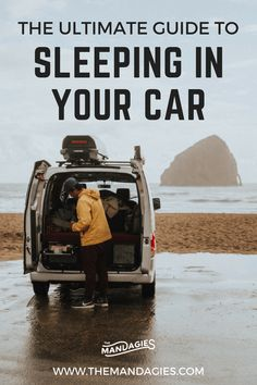 Sleeping in your car gives you the freedom to experience the open road! In this post, we're sharing all our car camping tips and tricks to help you with this important road trip step. We're talking everything from free places to sleep, what to pack, and h Auto Camping, Camping 101, Camping For Beginners, Camping Snacks, Camping Checklist, Camping Activities, Camping World, Camping With Kids, Camping Gadgets
