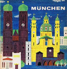 Two front cover travel guides to München, Germany Poster City, Pin Up Posters, City Painting, Travel Brochure, Country Paintings, Munich Germany, Vintage Travel Posters, Vintage Ads, Nose Art