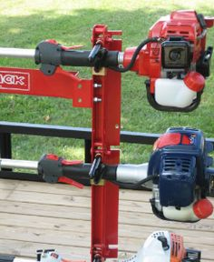 Trimmer Rack - holds and locks 2 trimmers to open or enclosed trailer Work Trailer, Utility Trailer, Equipment Trailers, Lawn Equipment, Tractor Mower, Lawn Mower, Lawn Care Business Cards, Landscape Trailers, Trailer Organization