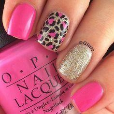 Cheetah Nail Designs, Leopard Print Nails, Nail Art Designs, Leopard Prints, Pink Cheetah Nails, Leopard Nail Art, Nails Design, Hot Pink Nails, Pedicure Designs