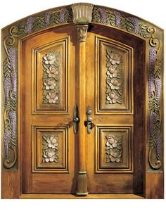Hand carved doors.
