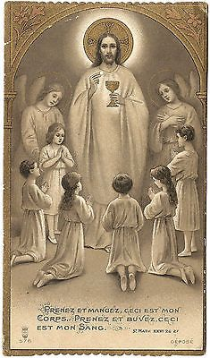 Antique Vintage French Holy Prayer Card Jesus Guiding Children in Communion | eBay