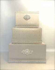 Ready to Ship Wedding Money Box Gray Silver by WrapsodyandInk