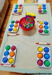 dollar store muffin tins for displaying play dough on table