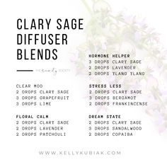 Diffuser Blends for Clary Essential Oil