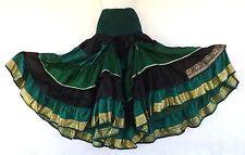 Steampunk Boho Gypsy Belly Dance Costume Vintage Silk Tiered Skirt Green