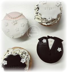 Hochzeitscupcakes/ Brautpaarcupcakes Wedding Cakes, Desserts, Food, Backen, Deko, Wedding Gown Cakes, Meal, Wedding Pie Table, Deserts