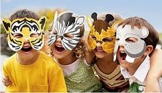 animal masks for the party goer Safari Party, 4th Birthday Parties, Boy Birthday, Safari Thema, Forest Party, Airplane Party, Animal Masks, Zoo Animals, Petting Zoo