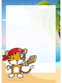 A imprimer, ce papier à lettre décoré du petit tigre pirate muni de son épée de bois