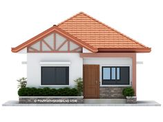 Two bedroom small house design is small version of Ruben Model. Simple design with long span galvanized iron roofing, pre-paint metal tile effect on steel purlins and trusses. Wall is white Model House Plan, My House Plans, Small House Plans, Two Bedroom House Design, House Roof Design, Small Bungalow, Modern Bungalow House, Minimal House Design, Simple House Design