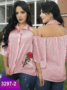 Blusa Moda Colombiana Thaxx - Ref. 119 Rosado from Diyanu - Ankara Dresses, Shirts & Diy Clothes Refashion, Shirt Refashion, Diy Shirt, Diy Fashion, Fashion Outfits, Fashion Design, Old Shirts, African Fashion Dresses, Dress Patterns