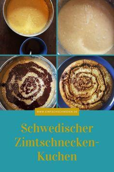 Soll es einmal eine Alternative zur klassischen Zimtschnecke sein, dann ist dieser Zimtschnecken-Kuchen genau das richtige. Ein schwedischer Kladdkaka, der nach Zimt und Kardamom schmeckt und super einfach zu backen ist. #einfachschweden #zimtschnecke #kanelbulle #kladdkaka Fika, Ethnic Recipes, Desserts, Danish Cake, Norwegian Cuisine, Swedish Cuisine, Scandinavian Recipes, Norwegian Recipes, Danish Recipes